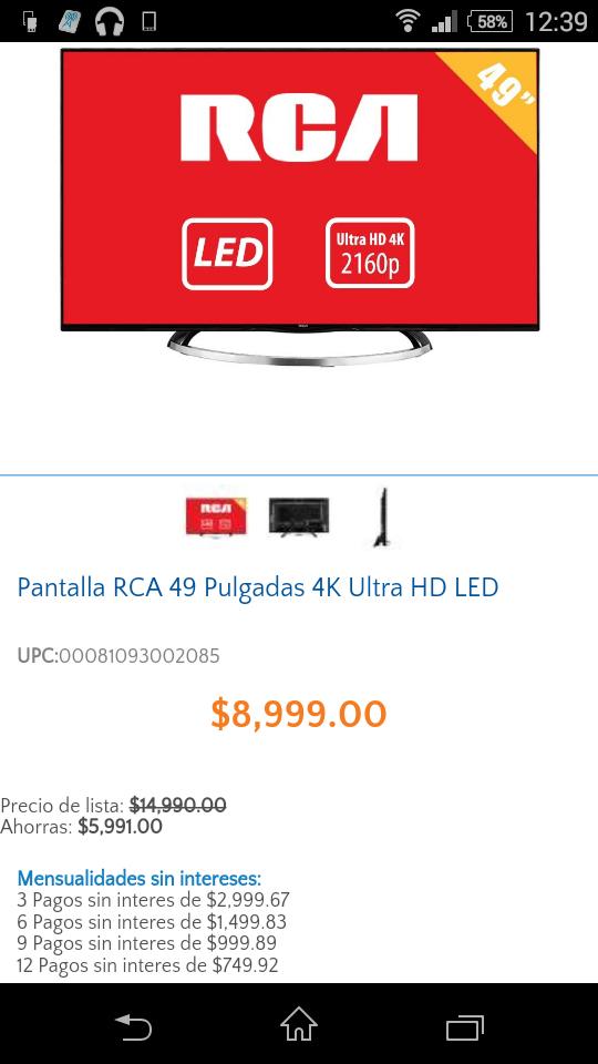 Walmart: Pantalla RCA 4k Ultra HD Modelo: DEUC490M4 $8999