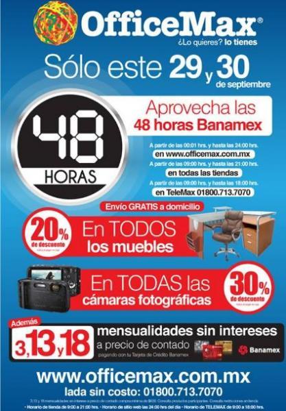 OfficeMax: 48 horas Banamex con meses sin intereses y promociones especiales