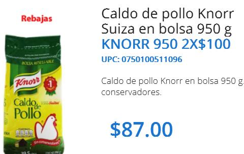 Walmart: Caldo de pollo Knorr Suiza 950g. 2 x $100