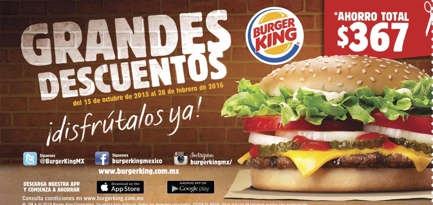 Nuevos cupones BurgerKing hasta el 28/02/2016