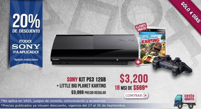 Famsa: PS3 o PS Vita $3,200 y 12 meses sin intereses. 20% en todo Sony