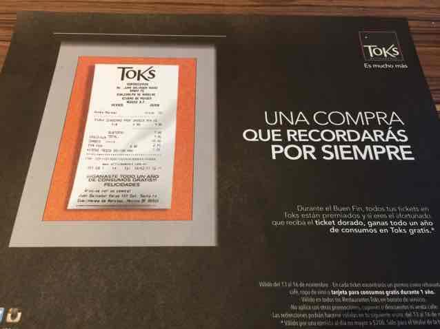 Oferta del buen fin 2015 en Toks Restaurantes. Premios en TODOS los tickets
