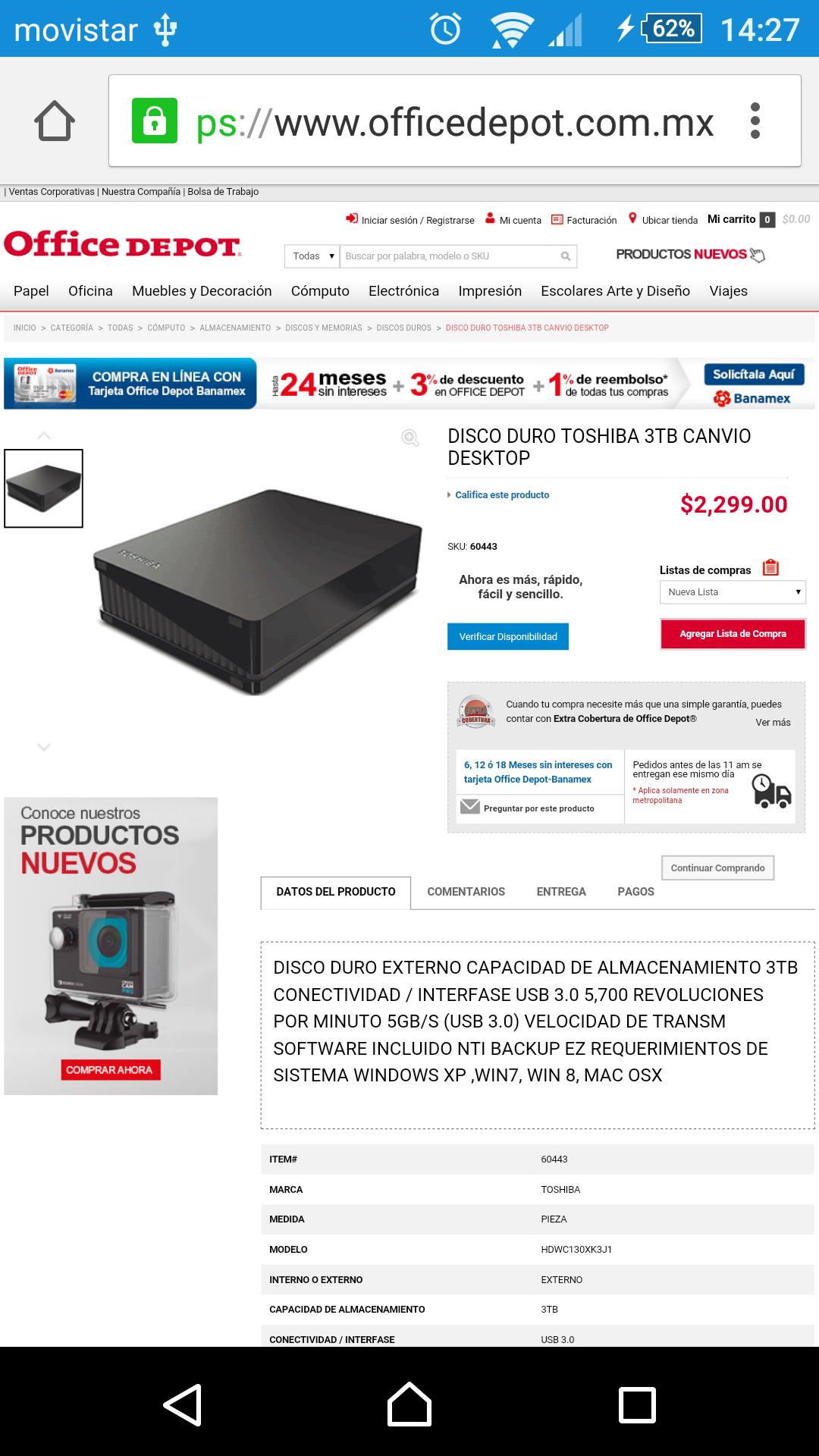 Office Depot: Disco Duro Externo 3 Teras $2299 // $1760 en Amazon