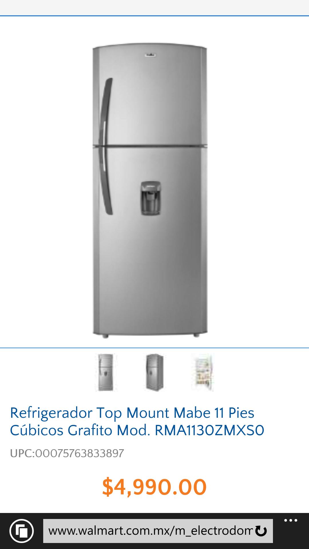 Refrigerador Top Mount Mabe 11 Pies en Walmart Online $4,990