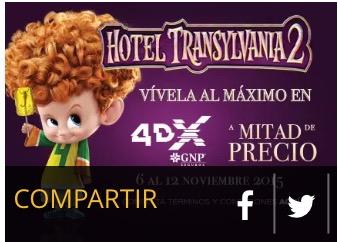 Cinépolis: Funciones 4DX de Hotel Transylvania 2 a mitad de precio