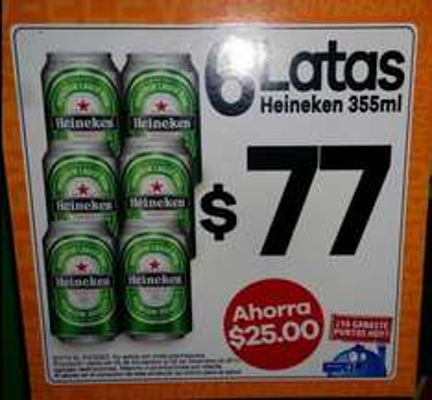 7 Eleven: six Heineken en lata $77 y 2 Snickers por $20