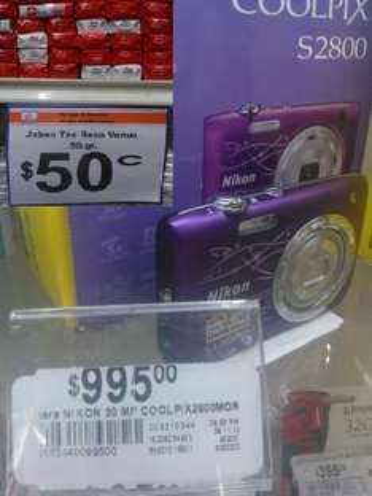 Chedraui, Av Vallarta, GDL: Jabon Rosa Venus de 50 Gr. a $0.50 y Camara Nikon Coolpix de 20 MP Mod. S2800 a $995
