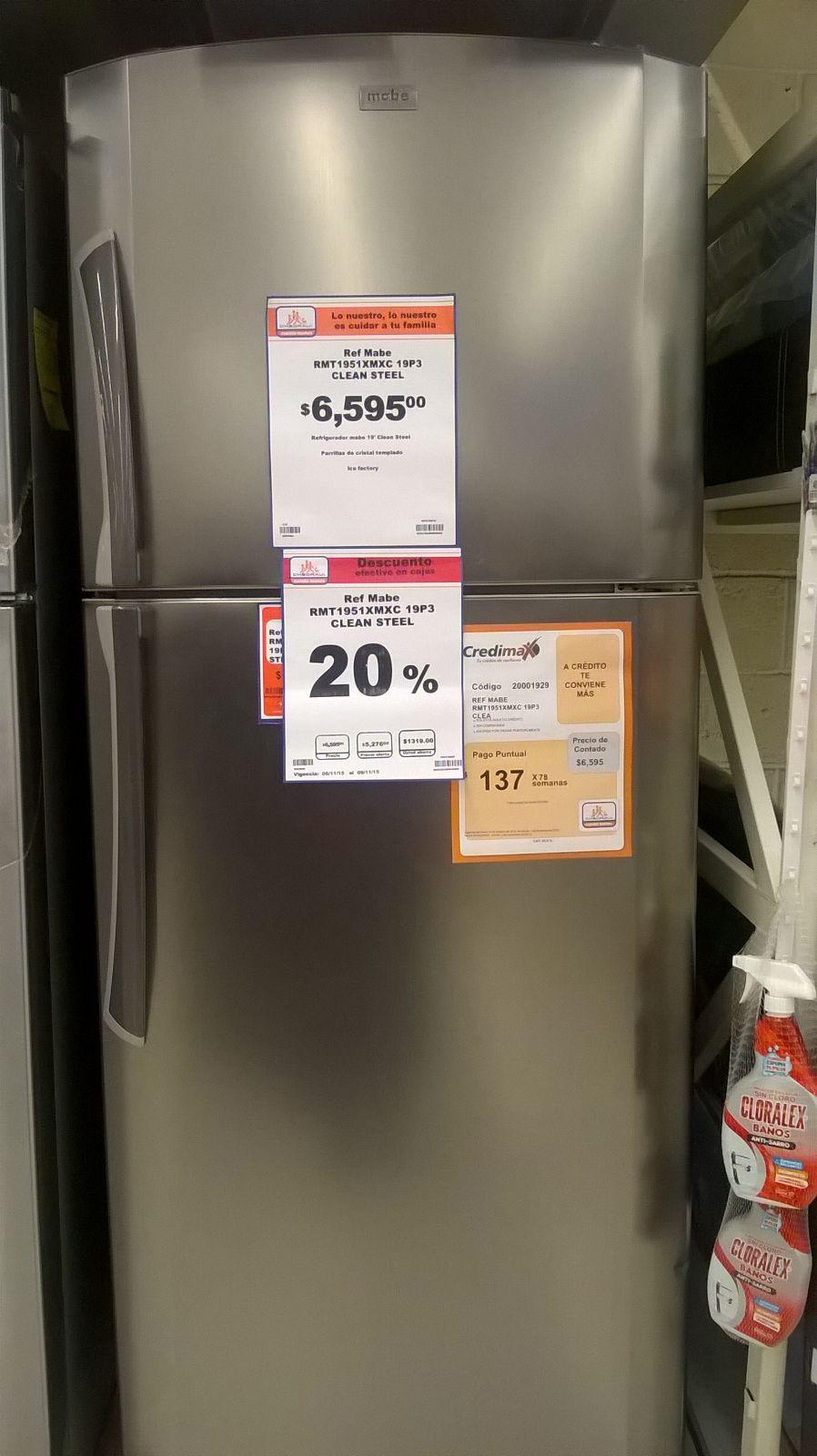 Chedraui: Refrigerador Mabe RMT1951XMXC de 19 pies