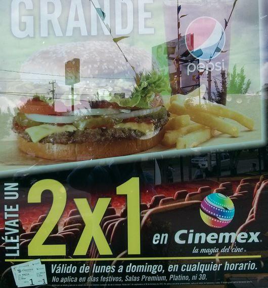 Burger King: 2x1 para Cinemex de lunes a domingo comprando combo
