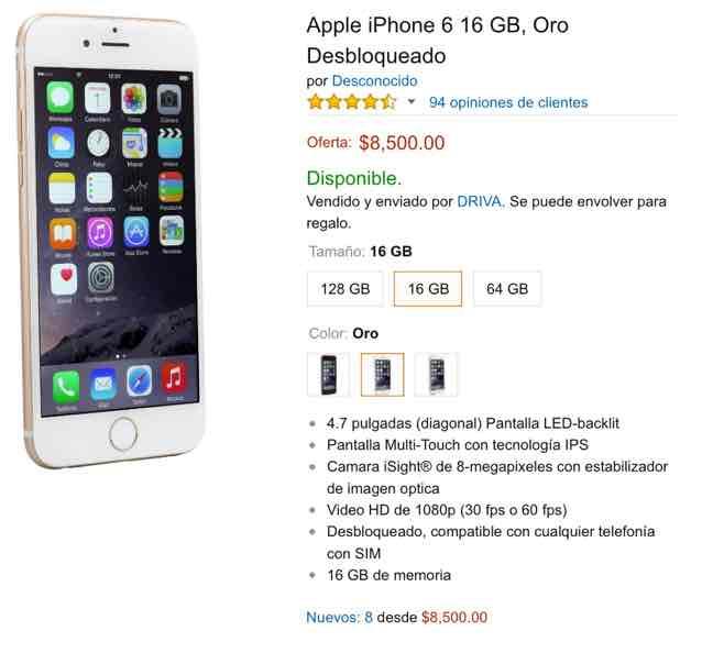 Amazon: iPhone 6 16gb libre Oro $8500 + envío