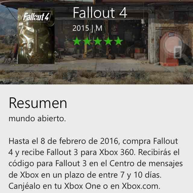 Xbox: fallout 3 gratis en la compra de fallout 4