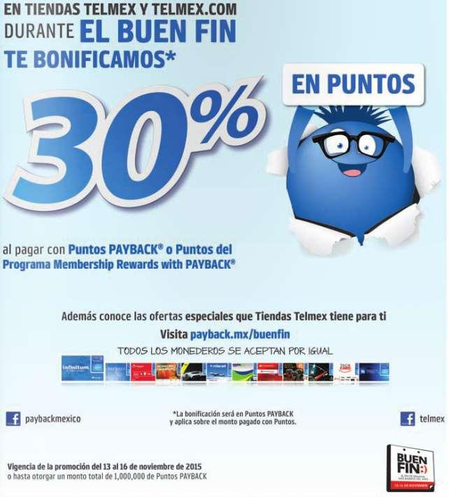 Promociones dle Buen Fin 2015 en Tienda Telmex: 30% de bonificación pagando con Payback