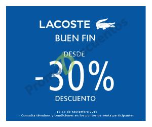 Promociones del Buen Fin 2015 en Lacoste, Martí, Levi's, Atlética,  Julio y más