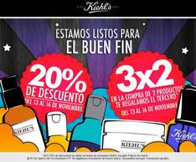 Promoción de Kiehl's para el Buen Fin 2015. 20% de Descuento en linea y 3x2 en Palacio de Hierro