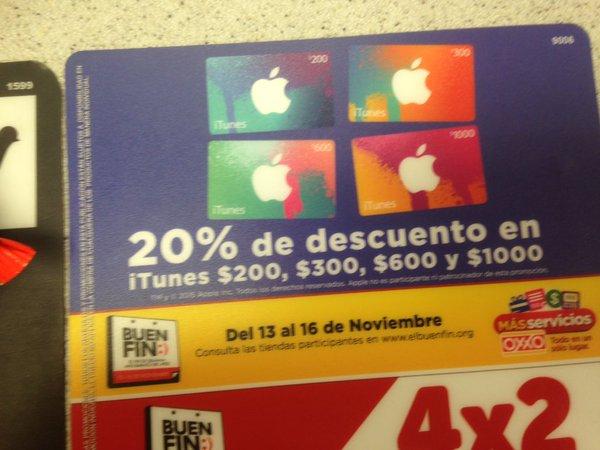 Promociones del Buen Fin 2015 en Oxxo: 20% de descuento en iTunes