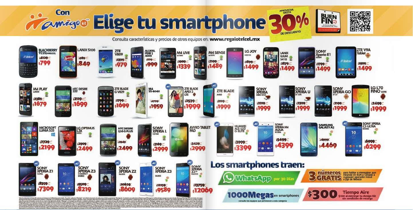 Promociones del Buen Fin 2015 en Telcel: hasta 30% en celulares Amigo Kit