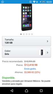 Amazon MX, IPhone 6 128gb color gris