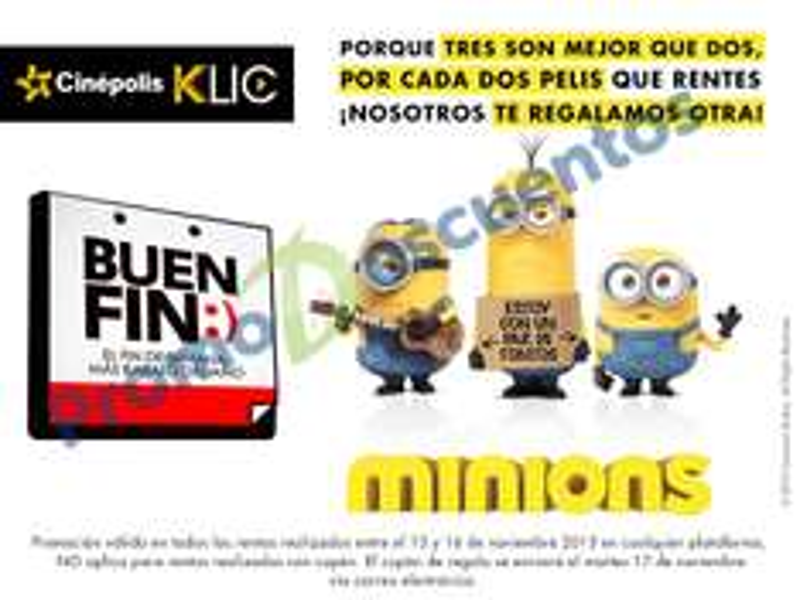 Promociones del Buen Fin 2015 en Cinépolis Klic: tercer película gratis