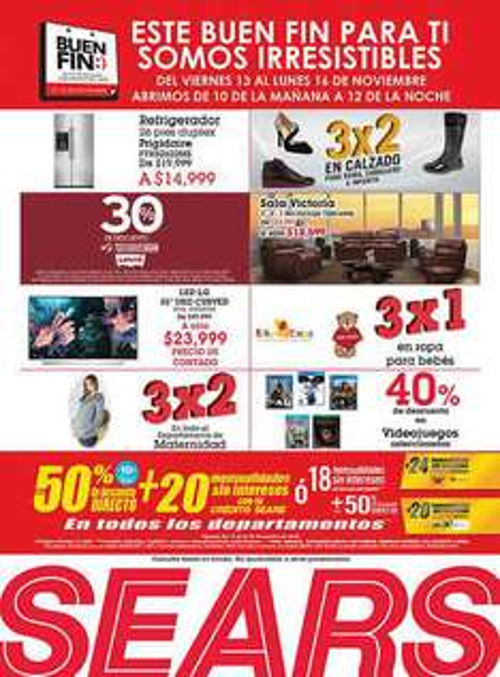 Promociones del Buen Fin Sears: Ropa para bebe 3x1, 30% en Levi's, 3x2 en calzado, maternidad y más