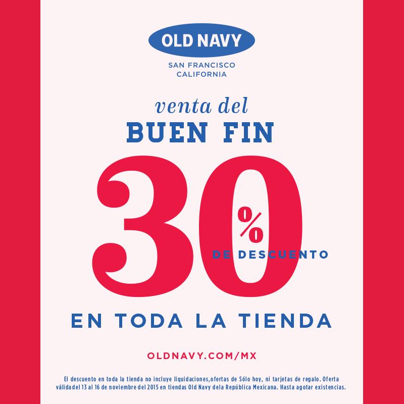 Ofertas del Buen Fin 2015 30% de descuento en Old Navy