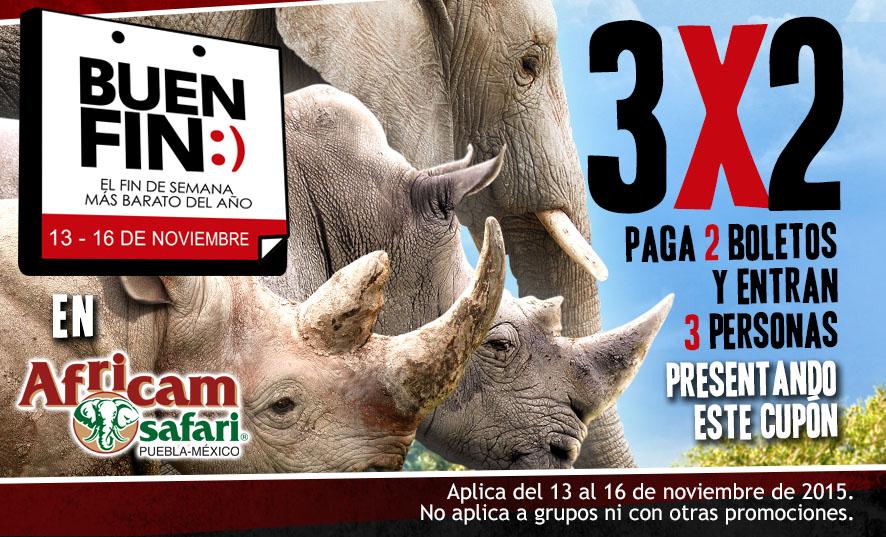 Promoción del Buen Fin 2015 en Africam Safari + otras ofertas de 2x1