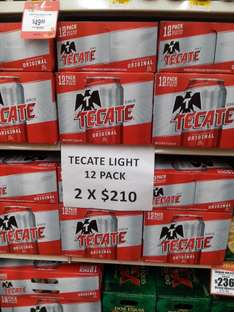 Walmart Escobedo, NL: Tecate Original o Light 24 x $210, Bud Light 24 x $177