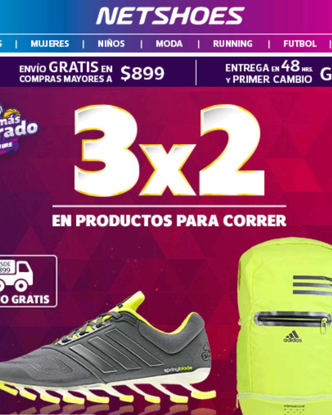 Netshoes promoción de 3x2 en artículos para correr