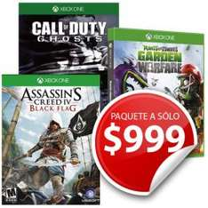 Sears: Paquete de juegos Xbox One:  Assassins creed black flag, Call of duty ghosts, Garden Warfare
