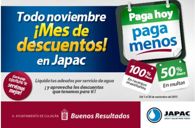 JAPAC: Todo Noviembre 100% de descto. en recargos moratorios y 50% de descto. en multas