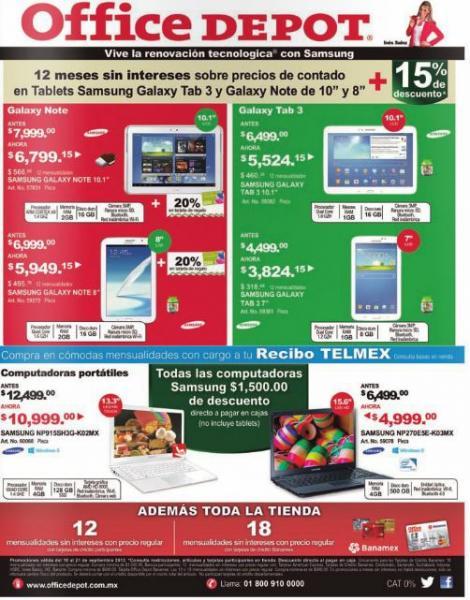 Office Depot: 15% de descuento + 20% en monedero en tablet Galaxy Note y descuento en computadoras