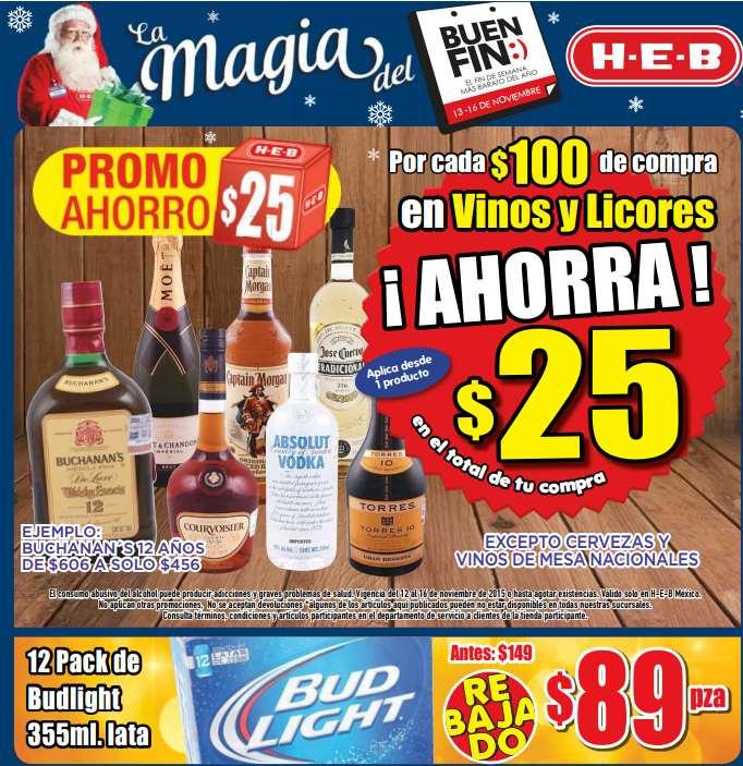 Ofertas del Buen Fin 2015 en HEB: descuento en vinos y licores y 12 pack cerveza $89