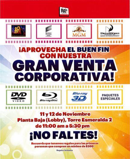 Venta Corporativa Peliculas Sony, MGM, 20th Century Fox y Dreamworks solo hoy 12 de Nov
