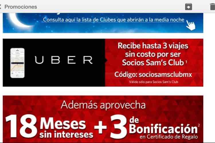 Uber: Hasta 3 viajes sin costo para socios Sam's Club