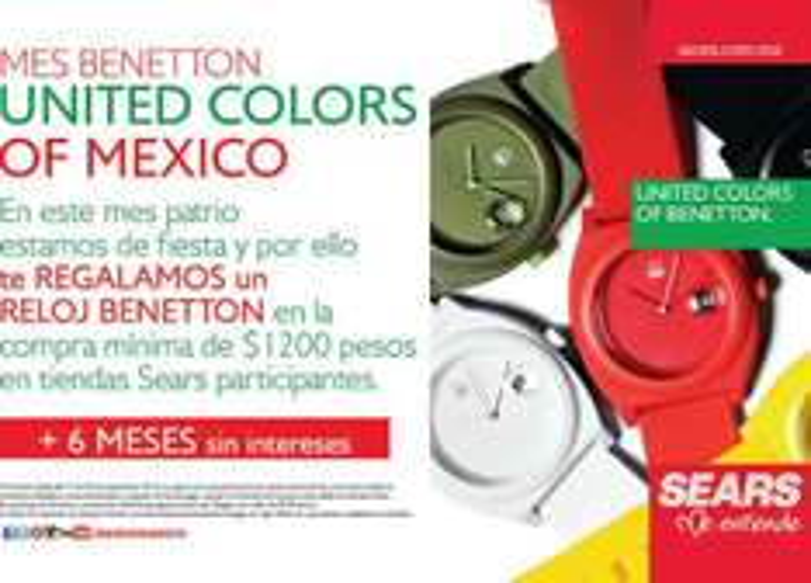 Sears: reloj Benetton gratis en compras mínimas de $1,200