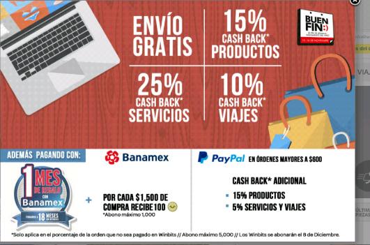 El Buen Fin en ClickOnero: Envío gratis en toda la tienda más Cashback
