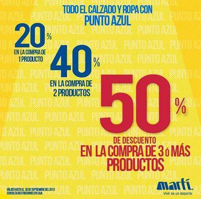 Martí: 50% de descuento comprando 3 artículos con punto azul