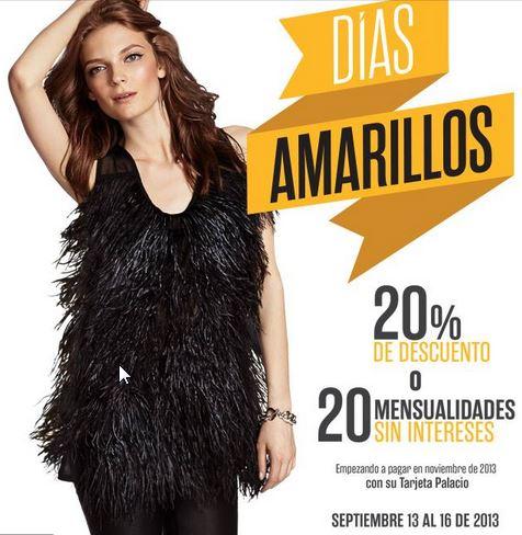Días Amarillos Palacio de Hierro del 13 al 16 de septiembre y 20% extra en Puntos Bancomer