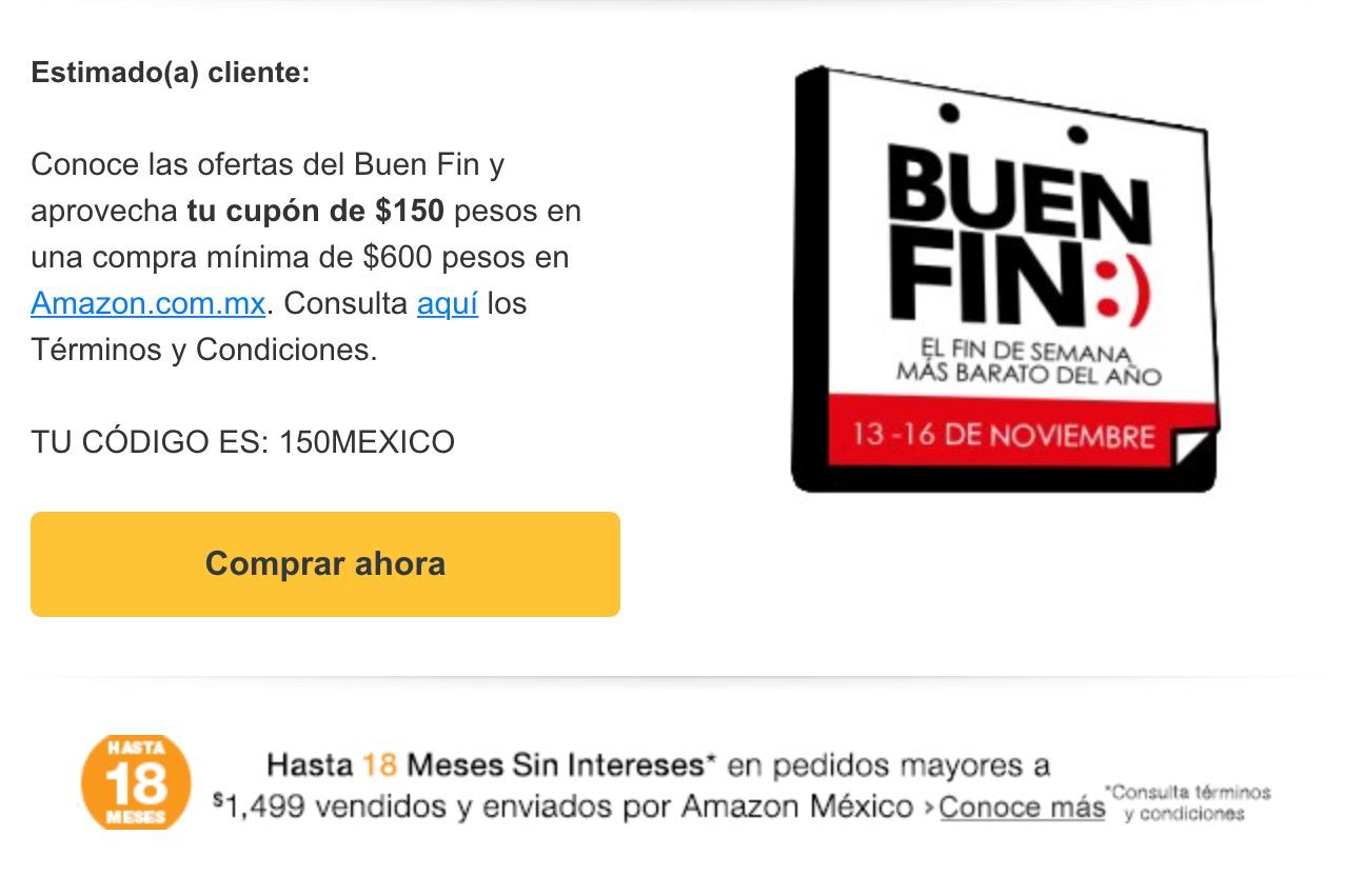 Amazon: cupón $150 por el BUEN FIN