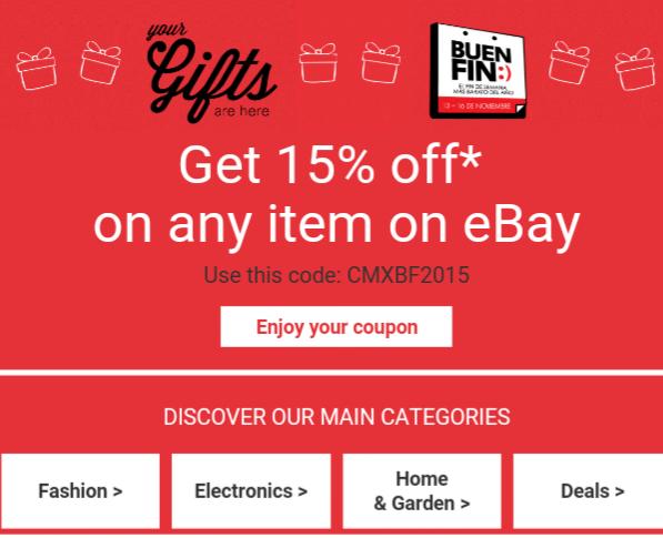 EBay: Cupón del Buen Fin 2015 15% de descuento en cualquier producto.