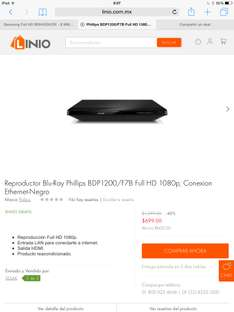 LINIO. Blu-Ray Philips BDP1200/F7B conexion Ethernet reacondicionado