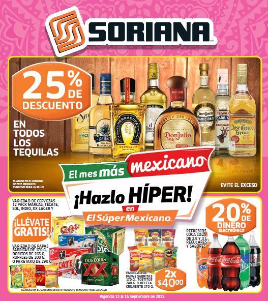 Folleto Soriana del 13 al 19 de septiembre: descuento en Sony, tequilas y más