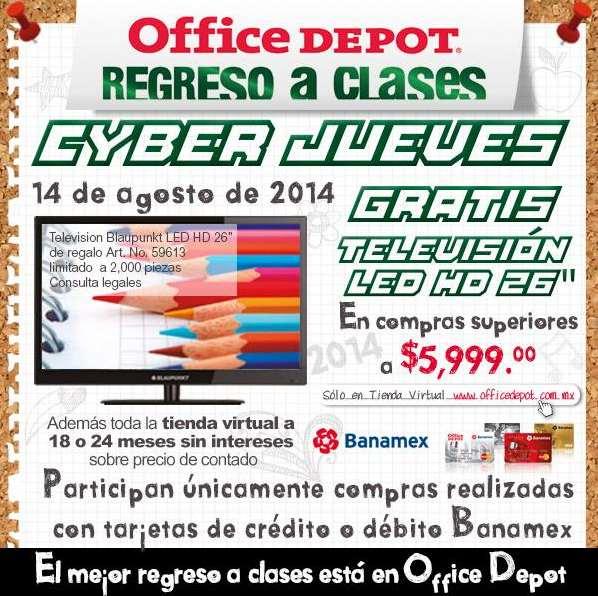 "Office Depot CyberJueves Banamex: pantalla LED 26"" gratis en compras mayores a $5,999"