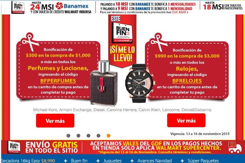 Walmart: cupón de $300 o $900 de descuento con compra mínima comprando perfume o reloj