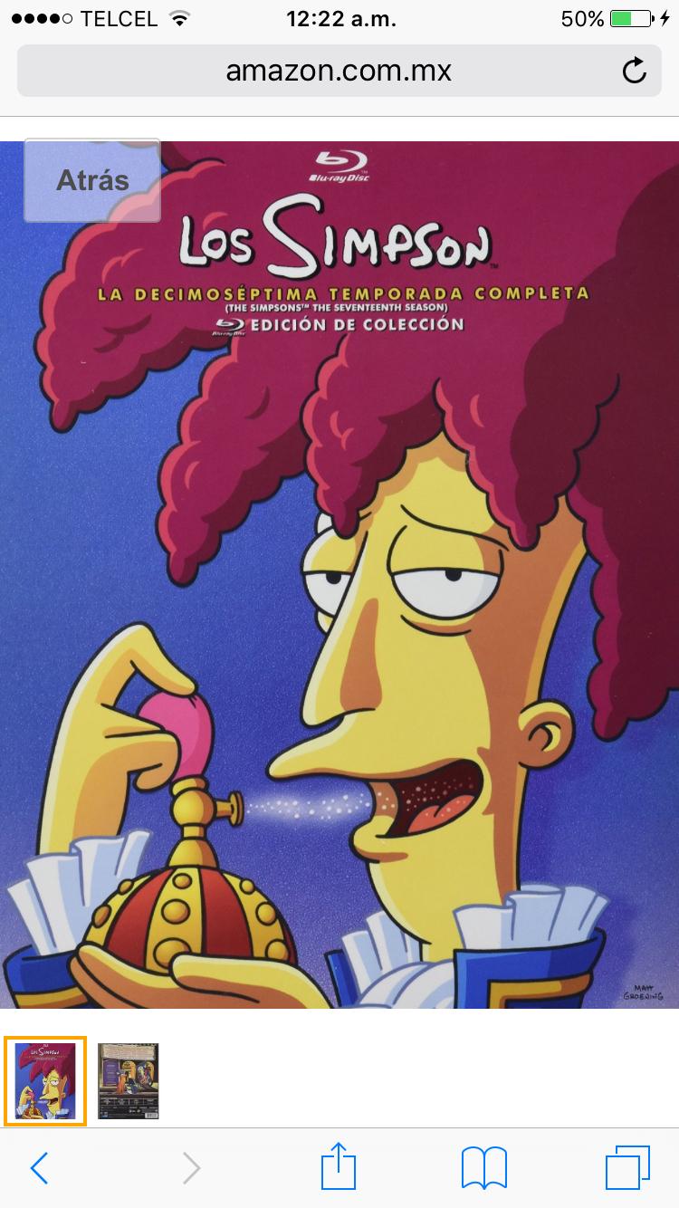 Amazon.com.mx: Simpson, Temporada 17  $175 en blu-ray o $139 en DVD