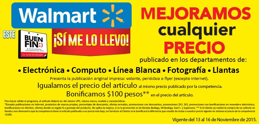 Promoción El Buen Fin Walmart: Igualan el precio y te bonifican $100.00 (llevando publicidad impresa de competencia)