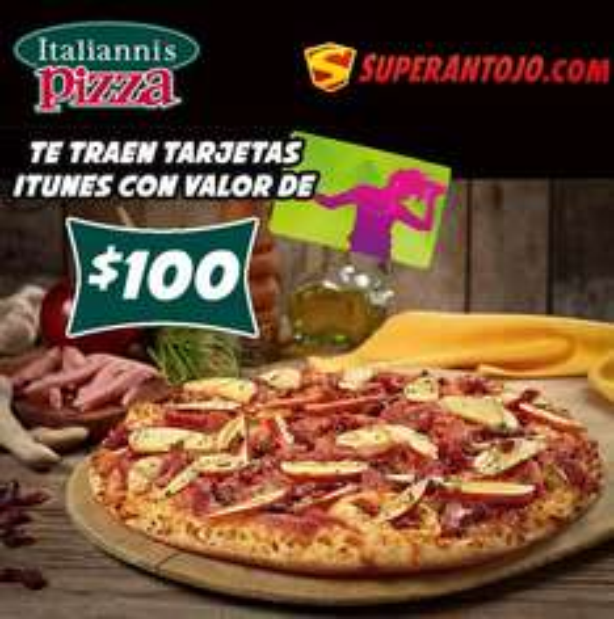 Tarjeta iTunes de $100 gratis pediendo comida de Italianni's Pizza en Supernatojo