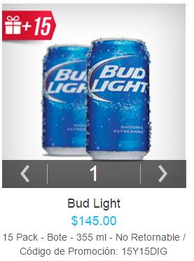 Modelo Now: 30 cervezas Bud Light a precio de 12