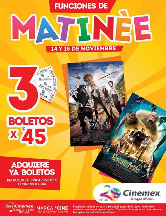 Cinemex: 3 boletos para matinée Peter Pan o Escalofríos por $45