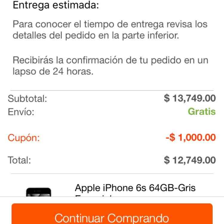 Linio: iPhone 6s 64Gb-Gris espacial $12,749 (Apple Store $16,299)