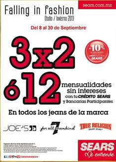 Sears: 3x2 en jeans True Religion, Joe's y Seven